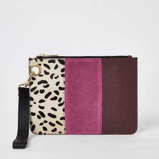 River Island Pink leather colour blocked clutch bag