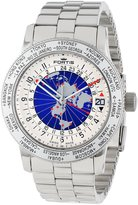 Fortis Men's 674.20.15 M B-47 WORLDTIMER GMT silver stainless-steel band watch.