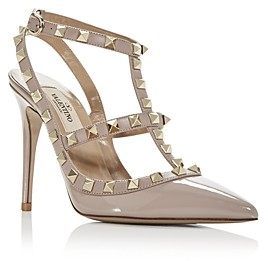 Valentino Women's Rockstud Leather T-Strap High-Heel Pumps