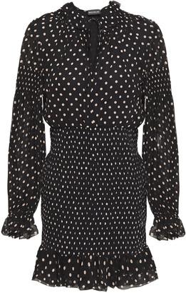 Nicholas Shirred Polka-dot Silk-crepe Mini Dress