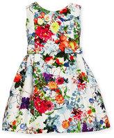 Helena Sleeveless Pleated Floral Dress, Size 4-6