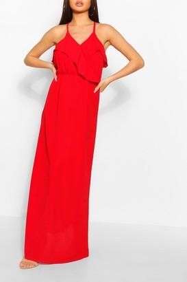 boohoo Strappy Ruffle Detail Maxi Dress