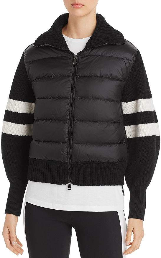 840230118 Quilted Down & Stripe Sleeve Cardigan