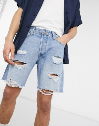 Jack and Jones Intelligence denim shorts in loose fit with rips blue