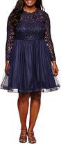 My Michelle Long Sleeve Party Dress-Juniors Plus