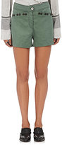 Derek Lam 10 Crosby Women's Linen-Blend Embellished Shorts-DARK GREEN