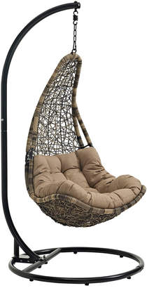 Modway Abate Outdoor Patio Wicker Rattan Swing Chair With Stand