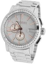 Gucci 101 G-Chrono YA101201 Rose Gold Dial 14.0ct Diamond Mens 44mm Watch