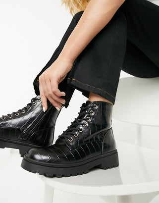 New Look chunky faux croc lace up ankle boot in black