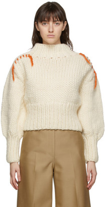 Victoria Victoria Beckham Off-White Wool Whipstitch Sweater