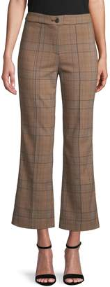En Thread Printed Flared Cropped Trousers