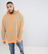 Puma PLUS Pullover Hoodie With All Over Print In Orange Exclusive To ASOS