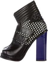 Proenza Schouler Woven Peep-Toe Ankle Boots