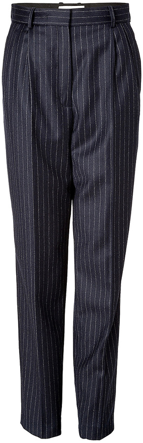 Vanessa Bruno Wool Pleated Front Pants in Marine