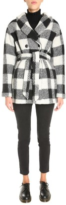 Woolrich Check Tie Belt Double Breasted Coat