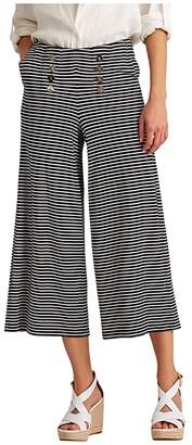 Lauren Ralph Lauren Petite Burleigh Striped Ponte Wide Leg Pants (Lauren Navy/Pale Cream) Women's Clothing