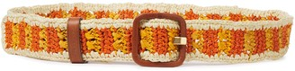 Tory Burch Leather-trimmed Raffia Belt