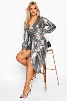boohoo Plus Metallic Plunge Long Sleeve Wrap Detail Dress
