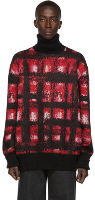 Alexander McQueen Red and White Mohair Turtleneck