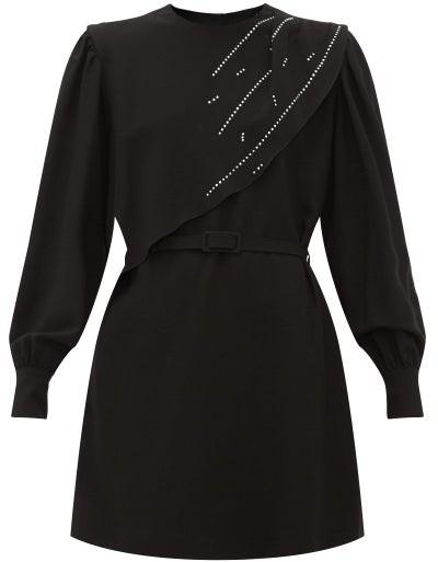 MSGM Crystal-embellished Waterfall-panel Crepe Dress - Womens - Black