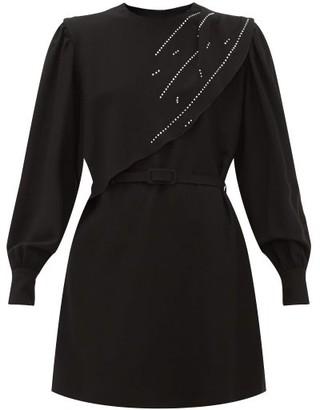 MSGM Crystal-embellished Waterfall-panel Crepe Dress - Black