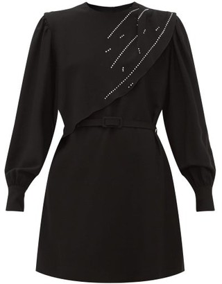 MSGM Crystal-embellished Waterfall-panel Crepe Dress - Womens - Black