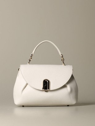 Furla Handbag Sleek Top Handle Bag In Textured Leather