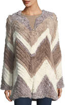 Bagatelle Chevron-Knitted Faux-Fur Jacket