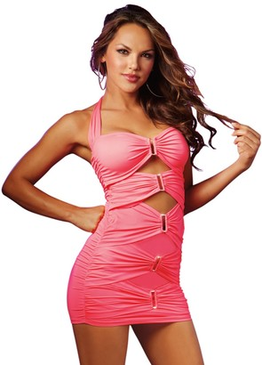 Dreamgirl Women's Pink Ruched Above Knee Length Halter Club Dress with Sexy Cut-Outs