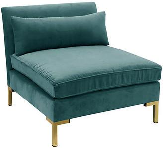 One Kings Lane Marceau Slipper Chair - Peacock Velvet