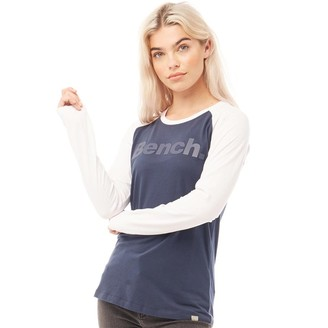 Bench Womens Hometown Long Sleeve T-Shirt Navy/White