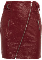 Isabel Marant Breezy Faux Washed-leather Mini Skirt - Claret