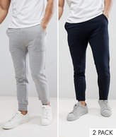 Asos Super Skinny Joggers 2 Pack Navy/Grey Marl Save