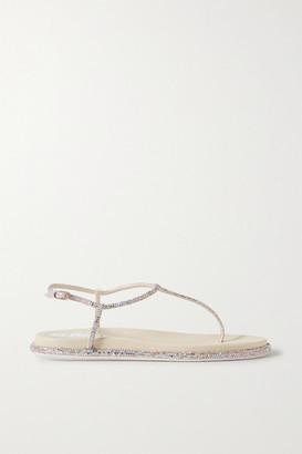 Rene Caovilla Diana Crystal-embellished Satin Sandals - Beige