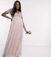 Maya Maternity Bridesmaid v neck maxi dress with tonal delicate sequin in pink