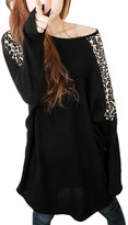 Allegra K Women Leopard Batwing Sleeve Loose Fit Top Tunic T Shirts