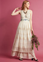 MDD1093 When it comes to promising your special occasion an unforgettable vibe, this ivory gown spares no detail! A ModCloth exclusive, this bohemian-inspired dress - with its embroidered mesh overlay, sophisticated bodice and waistline beading, and beautifully t