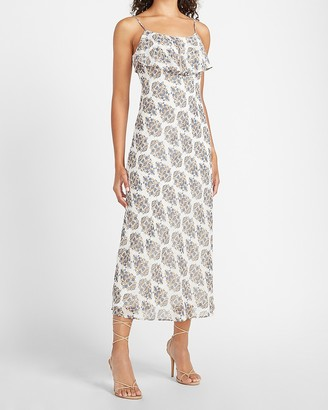 Express Metallic Floral Midi Slip Dress