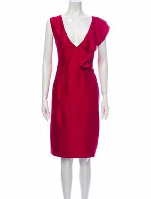 Valentino Silk Knee-Length Dress Pink
