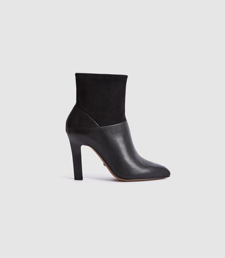 Reiss CARRIE SUEDE & LEATHER ANKLE BOOTS Black