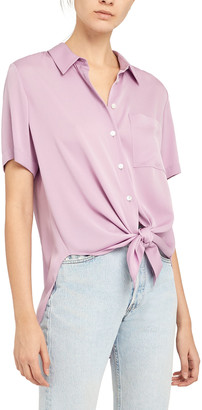 Theory Hekanina Tie-Front Button-Down Shirt