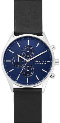 Skagen Men Chronograph Holst Black Leather Strap Watch 42mm