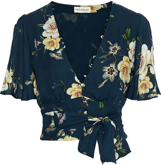 Nicholas Cropped Belted Floral-print Silk-crepe Top