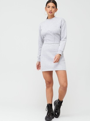 Missguided Corset Detail Sweater Dress - Grey