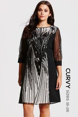 Little Mistress Curvy Black Heavily Embellished Panel Dress