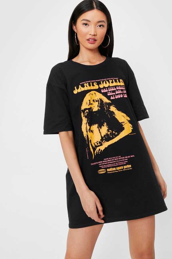 Thumbnail for your product : Nasty Gal Womens Janis Joplin Graphic Band T-Shirt Dress