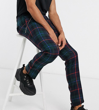 Twisted Tailor TALL skinny cropped trouser in tartan with pleat and pocket chain