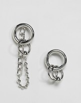 Monki Hoop And Chain Earrings