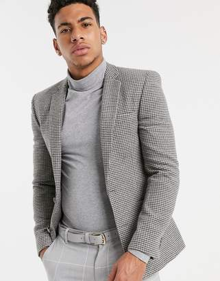 Asos Design DESIGN super skinny blazer in gray houndstooth