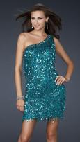 La Femme 17093 Glittering Tasseled Asymmetrical Sheath Cocktail Dress